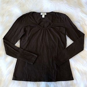 LOFT Tops - LOFT Dark Brown Ruched Scoop Neck Long Sleeve Tee